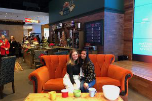 "A life-size replica of Central Perk is set up in the AT&T Flagship Store.  The pop-up shop was celebrating the 25th anniversary of the popular sitcom ""Friends."""